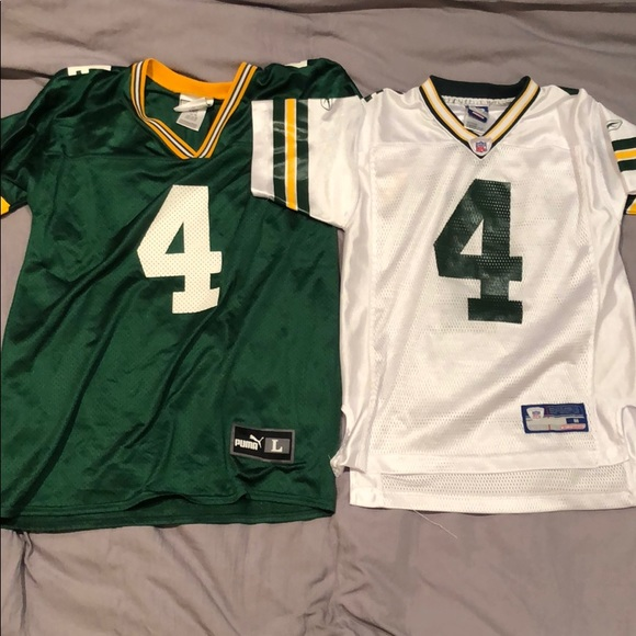 2107b745 Lot of 2 Puma Reebok Packers Brett Favre Jerseys